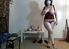 Boobalicious, chubby lady in mask dancing on webcam