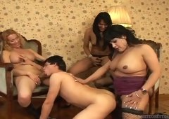 Sexual and plus filthy shemales fuck the guy doggystyle and get a blowjob