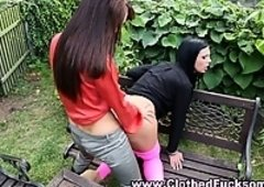 Glam lesbos outdoor oral and plus fingering