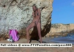 Suzanna amazing golden-haired babe getting naked on the beach & posing