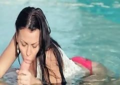 Incredible pool wow loving with sexy baby