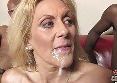 White grandma takes 2 big darksome cocks