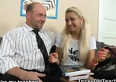 Teenager bitch moves her legs apart for her professor.