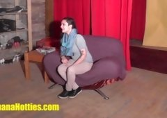 Crazy teenage does blowjob at the CASTING
