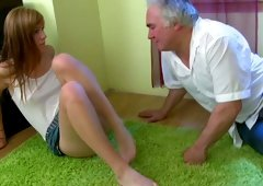 Kinky light haired young-looking called Sindy lets gaffer eat her wet cookie on the floor