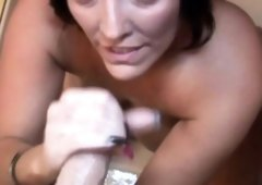 Tittyfucking milf tugging pecker in the shower