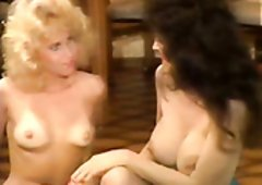 Bosomy vintage brunette hair fails to lure dude & has sex with blonde lesbo